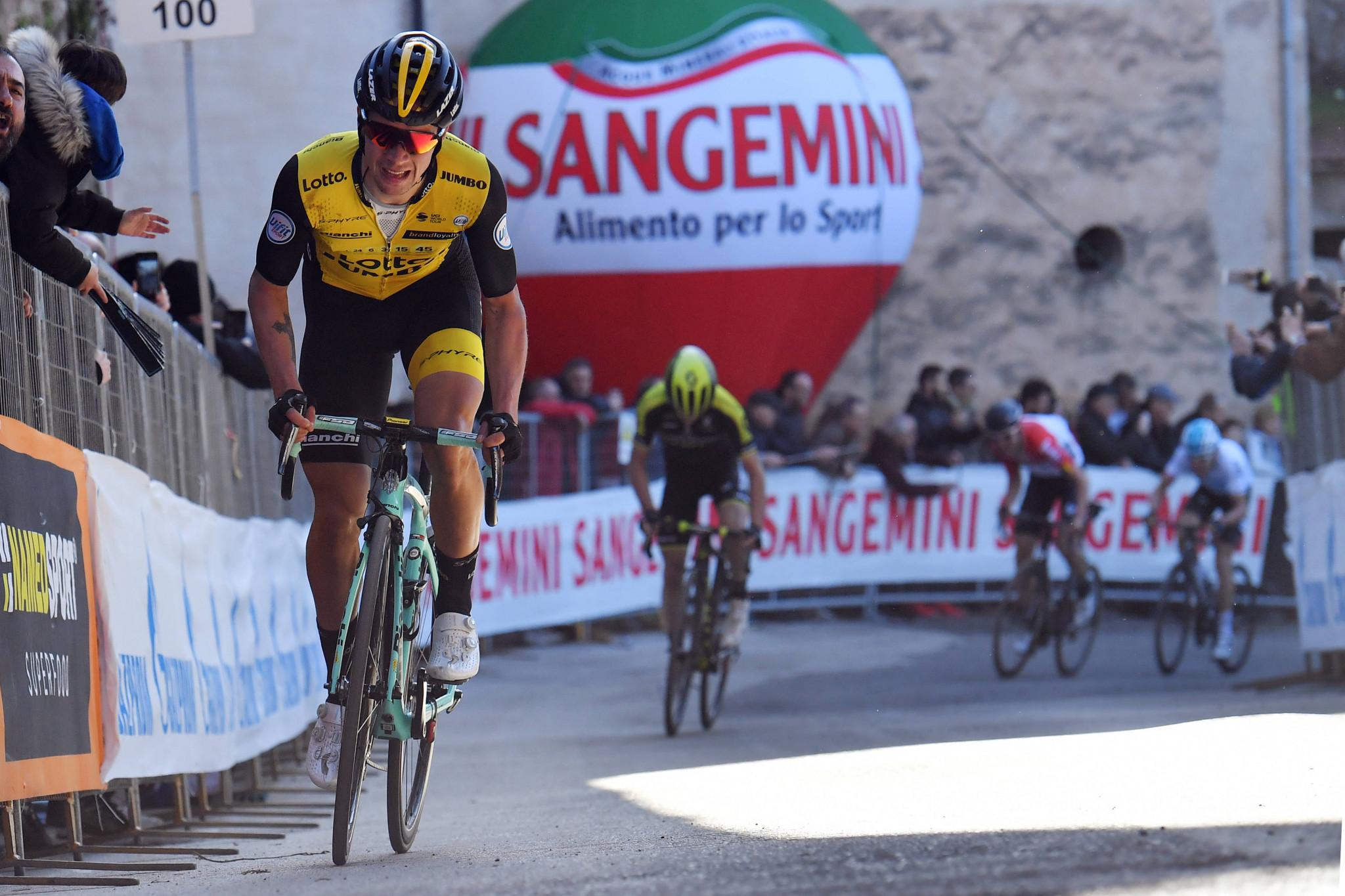 Slovenia's Primož Roglič climbed to victory on stage three of Tirreno-Adriatico ©LaPresse