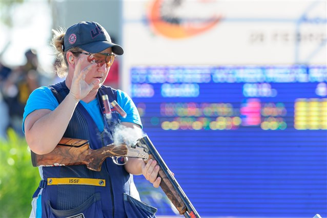 Kimberly Rhode is the qualification leader ©ISSF