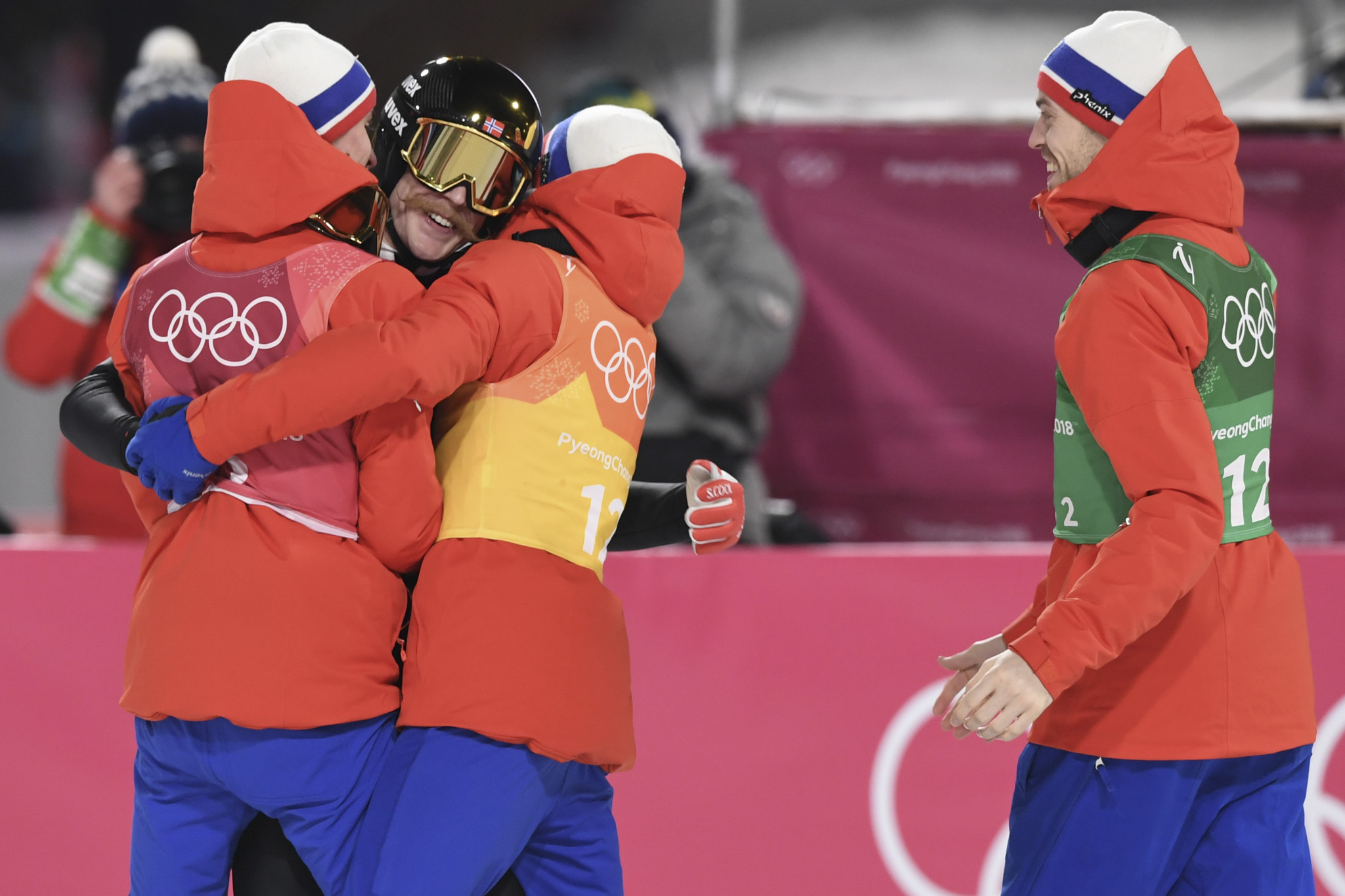The same Norwegian quartet celebrate team gold at Pyeongchang 2018 last month ©Getty Images