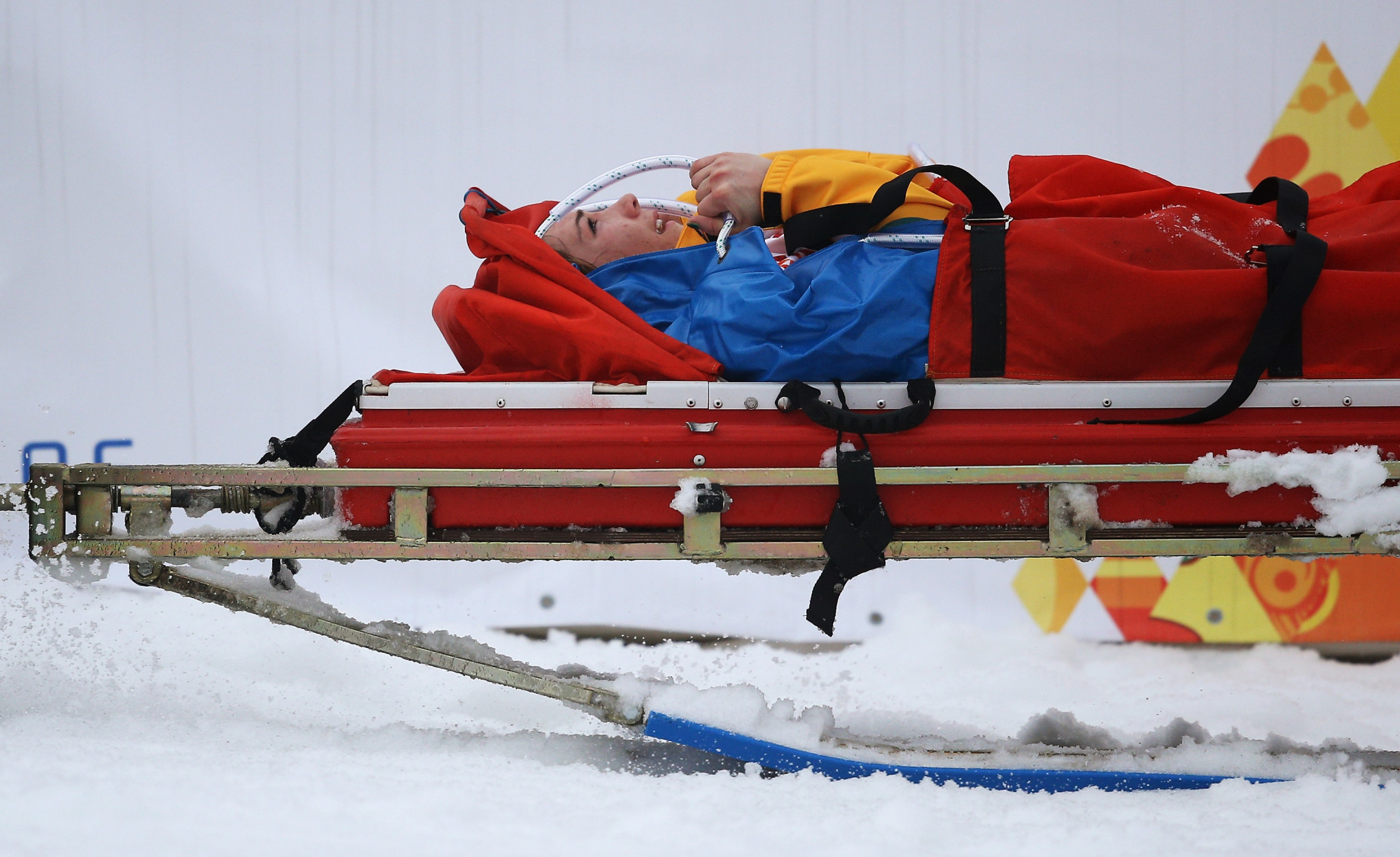 Joany Badenhorst was forced to leave the 2014 Paralympic Games in Sochi on a stretcher ©Getty Images