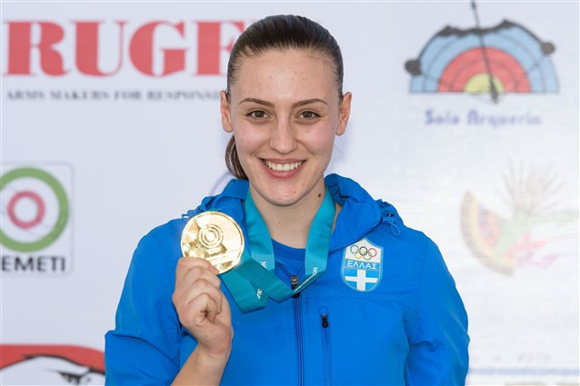 Greece's Anna Korakaki secured her first World Cup gold medal in the women's 25m pistol event ©ISSF
