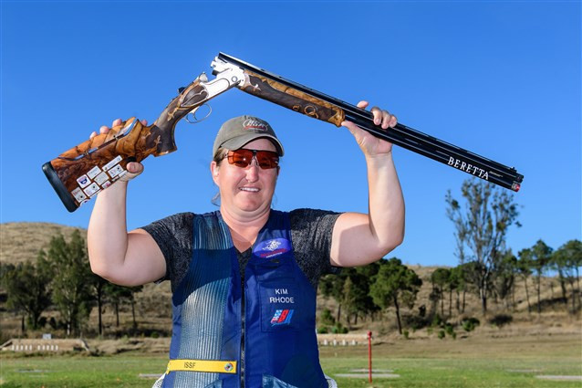 Kimberly Rhode led an American one-two in the women's skeet event ©ISSF