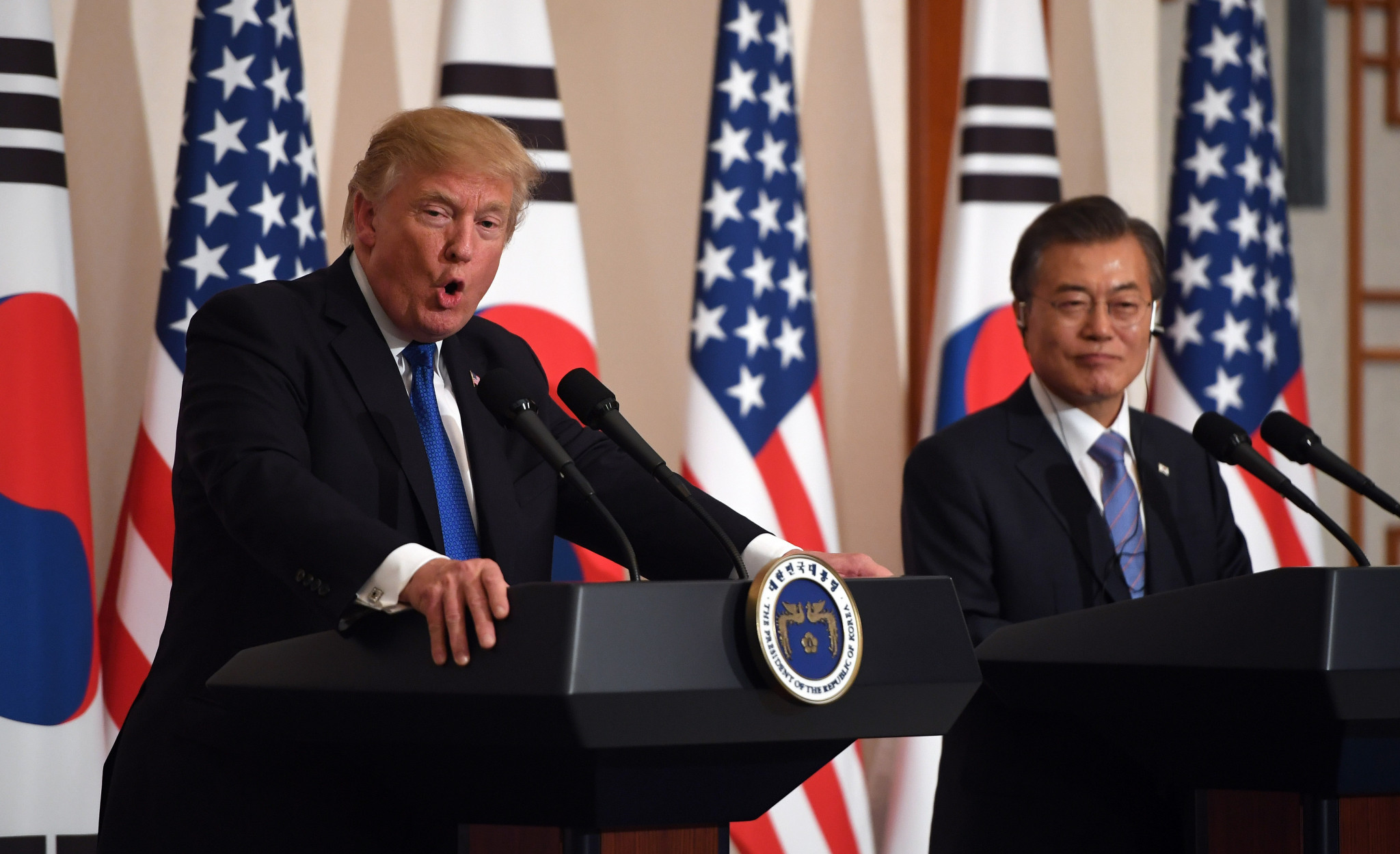 United States President Donald Trump has claimed that South Korean counterpart Moon Jae-in has credited him for the success of the Pyeongchang 2018 Winter Olympics ©Getty Images