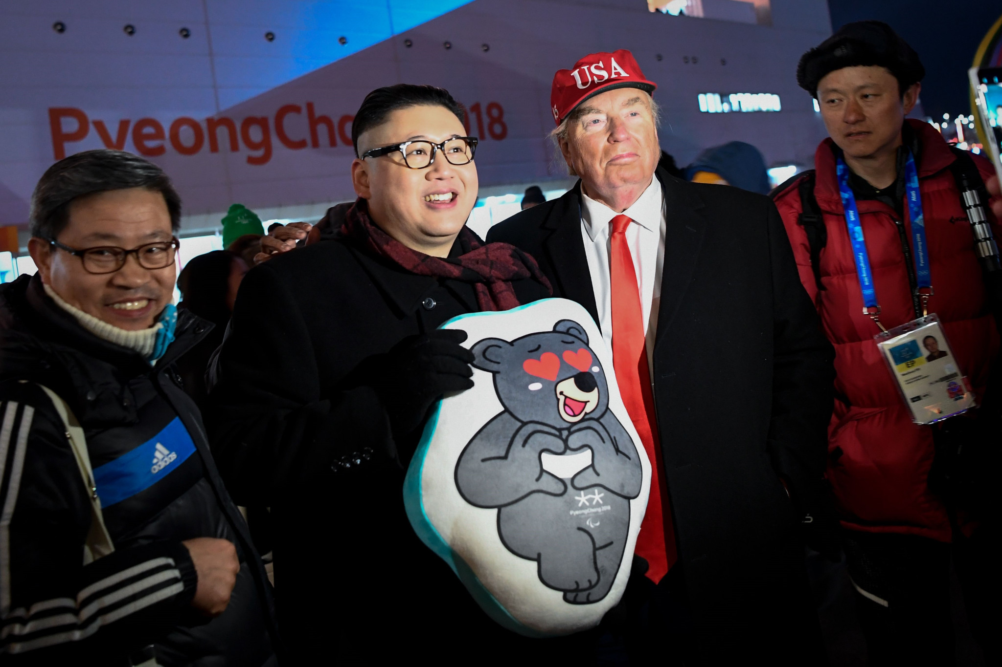 Donald Trump and Kim Jong-un impersonators gatecrashed the Opening Ceremony of the 2018 Winter Olympic Games in Pyeongchang - but the real Kim and Trump could meet soon ©Getty Images