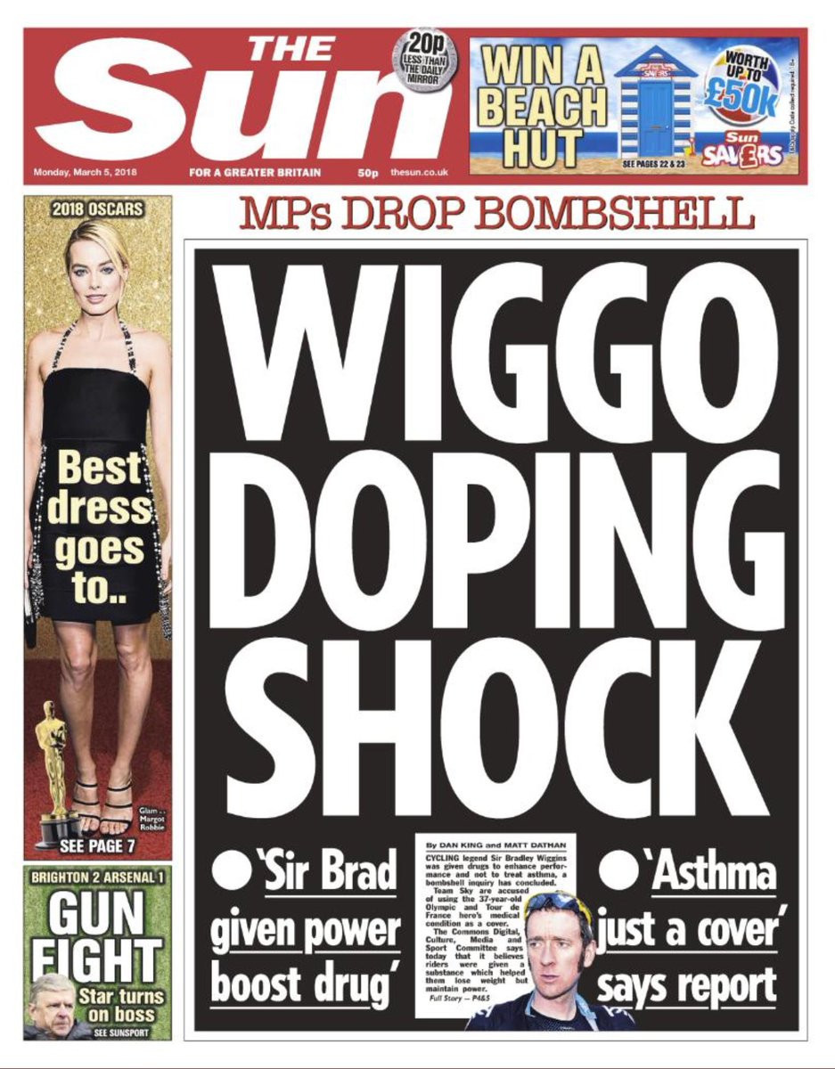 The Sun newspaper celebrated Sir Bradley Wiggins' Tour de France victory in 2012 but have now helped turn the public against him following the publication of the Combatting Doping in Sport report last week ©The Sun