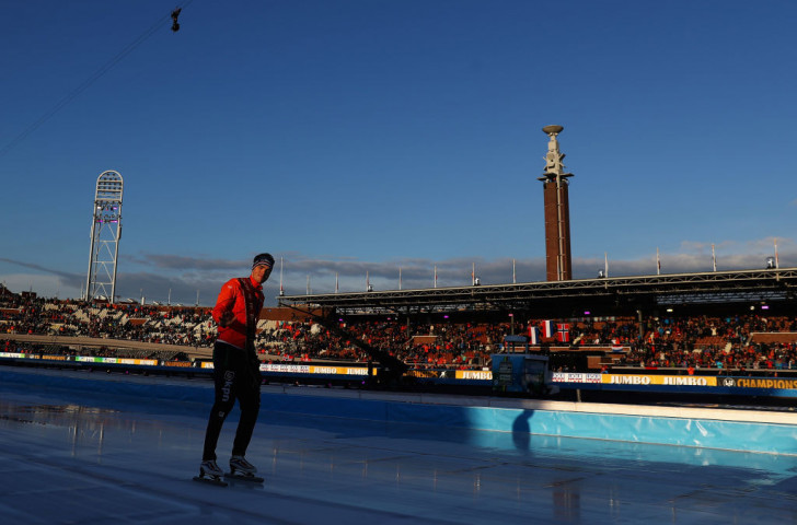 Home athlete Patrick Roest won the ISU World Allround Speed Skating Championships in Amsterdam after Norwegian rival Sverre Lunde Pedersen fell in the concluding 10,000m ©ISU