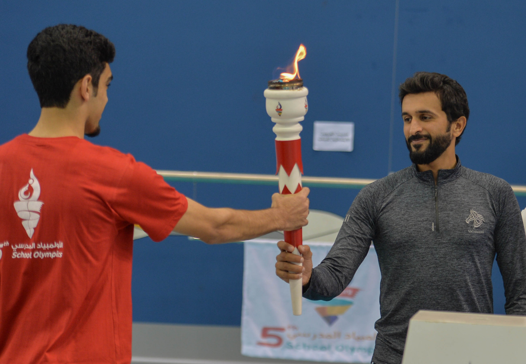 BOC President Shaikh Nasser bin Hamad Al Khalifa lit a dedicated Torch to declare the School Mini Olympics open ©BOC