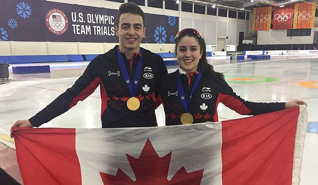 Canada won gold medals in both mass start races in Salt Lake City thank to Béatrice Lamarche and David La Rue ©Speed Skating Canada