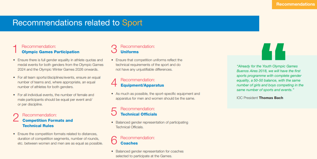 The first six of the 25 IOC recommendations for improving gender equality ©IOC