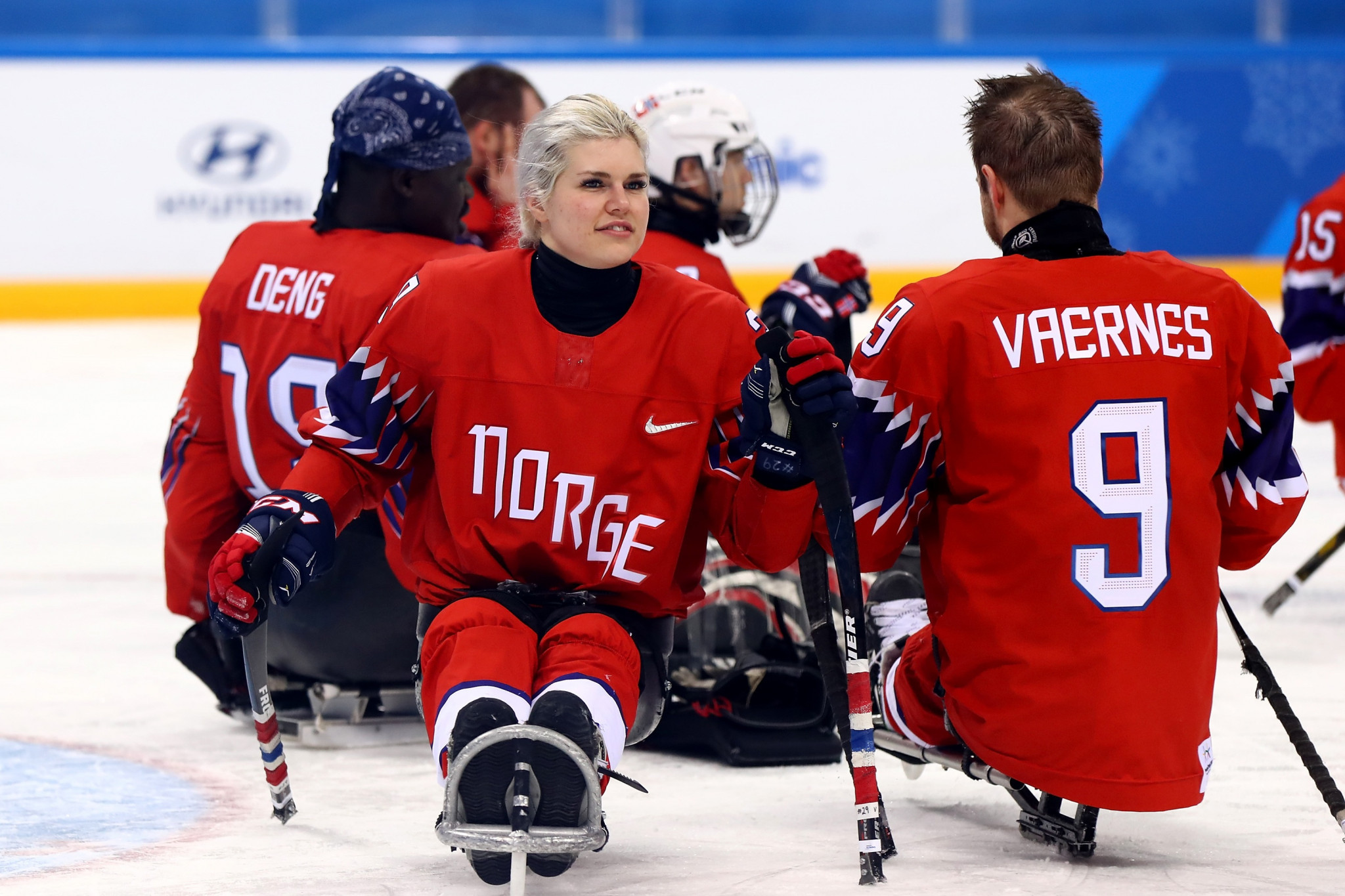 Lena Schroeder, the only women's player competing in the ice hockey tournament, helped Norway to a 3-1 win over Sweden in Group A ©Getty Images