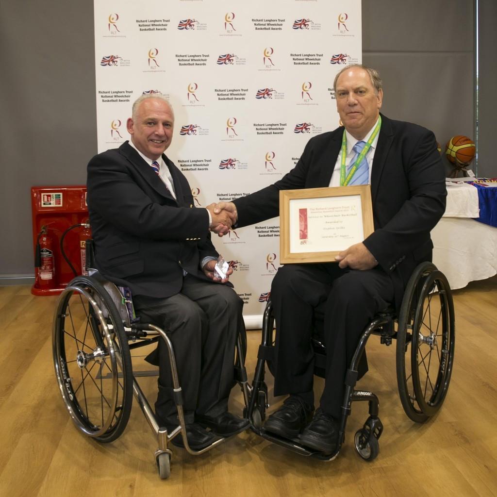 Steve Spilka, left, has received British Wheelchair Basketball's highest honour