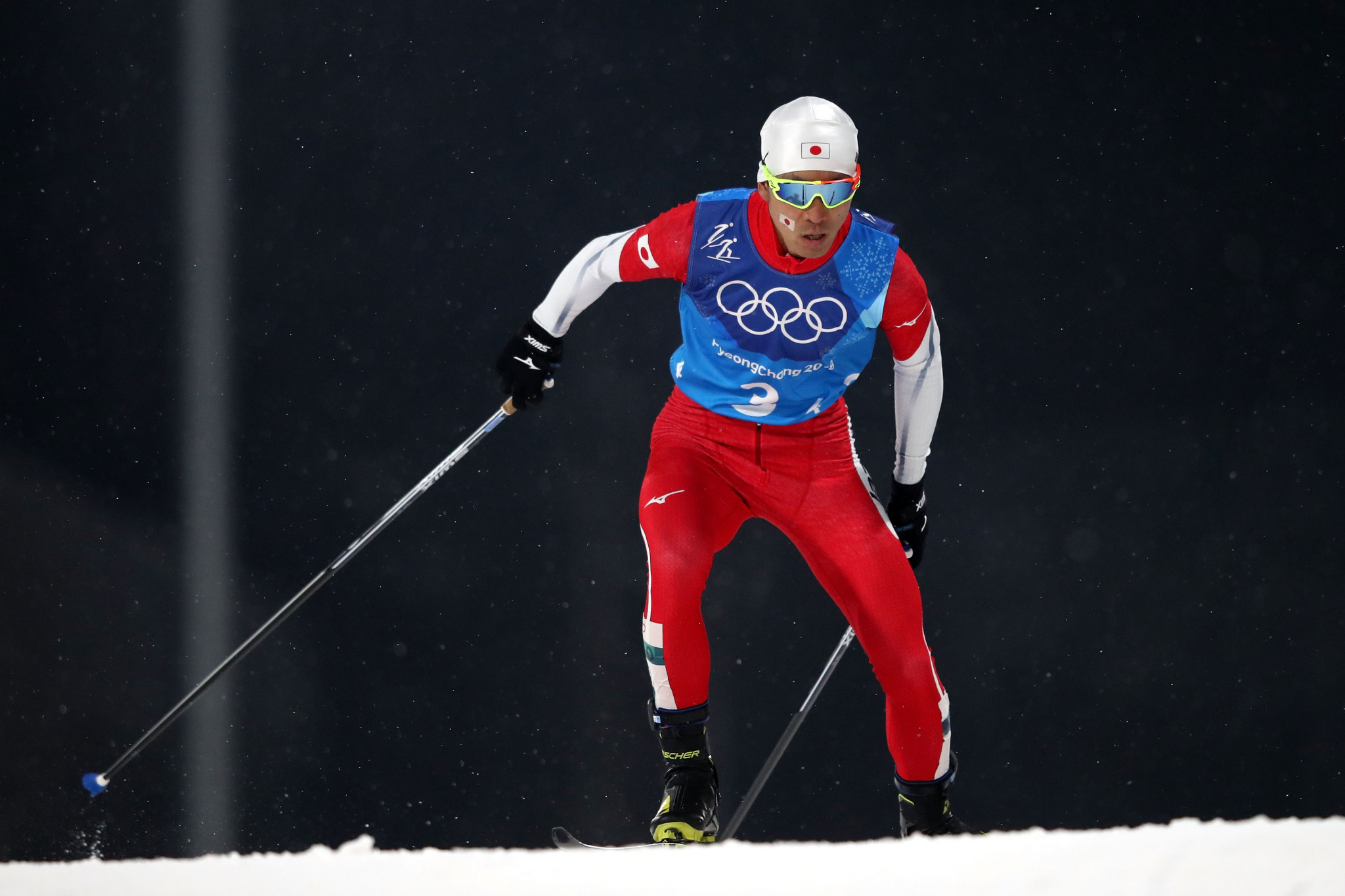 Akito Watabe, pictured at the Olympics, led after the ski jumping but was unable to maintain his advantage ©Getty Images
