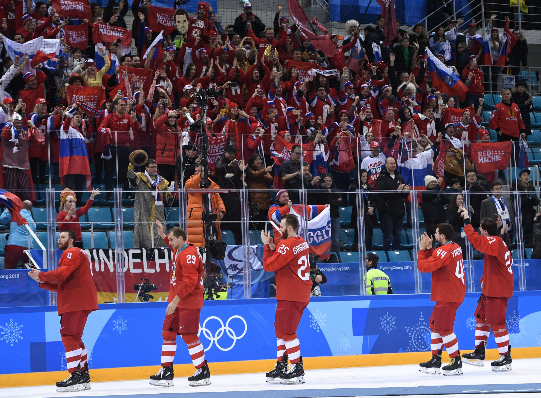 Fans were allowed to display Russian flags at last month's Olympic Games