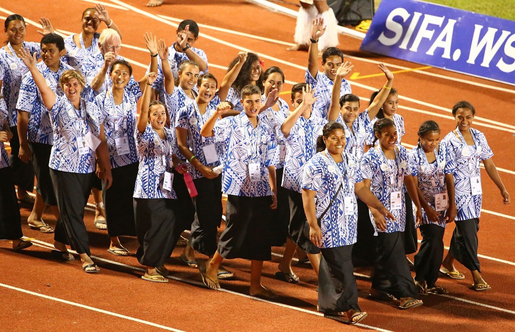Samoa's athletes received the loudest cheer of the night when they made their entrance into Apia Park