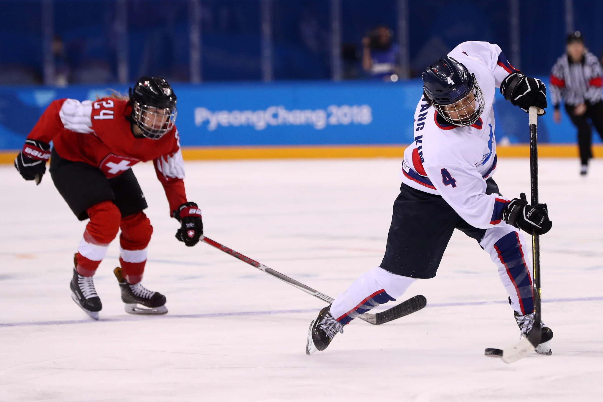 North Korean ice hockey player Un Hyang Kim, right, was secretly cleared after testing positive for a banned substance at Pyeongchang 2018 ©Getty Images