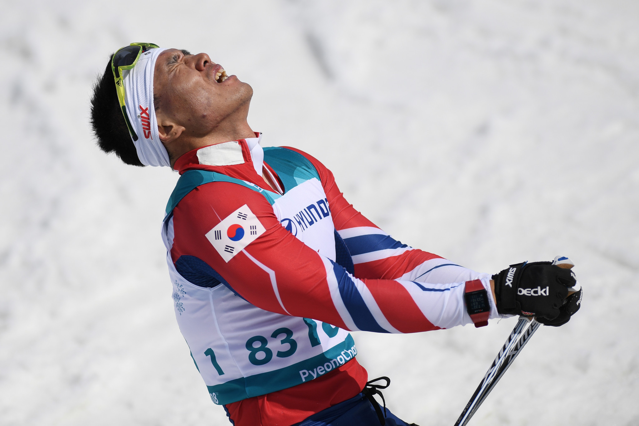 South Korea's Sin Eui Hyun won the men's cross-country skiing 7.5 kilometres sitting race to claim the host country's first-ever Winter Paralympic gold medal on day eight of Pyeongchang 2018 ©Getty Images