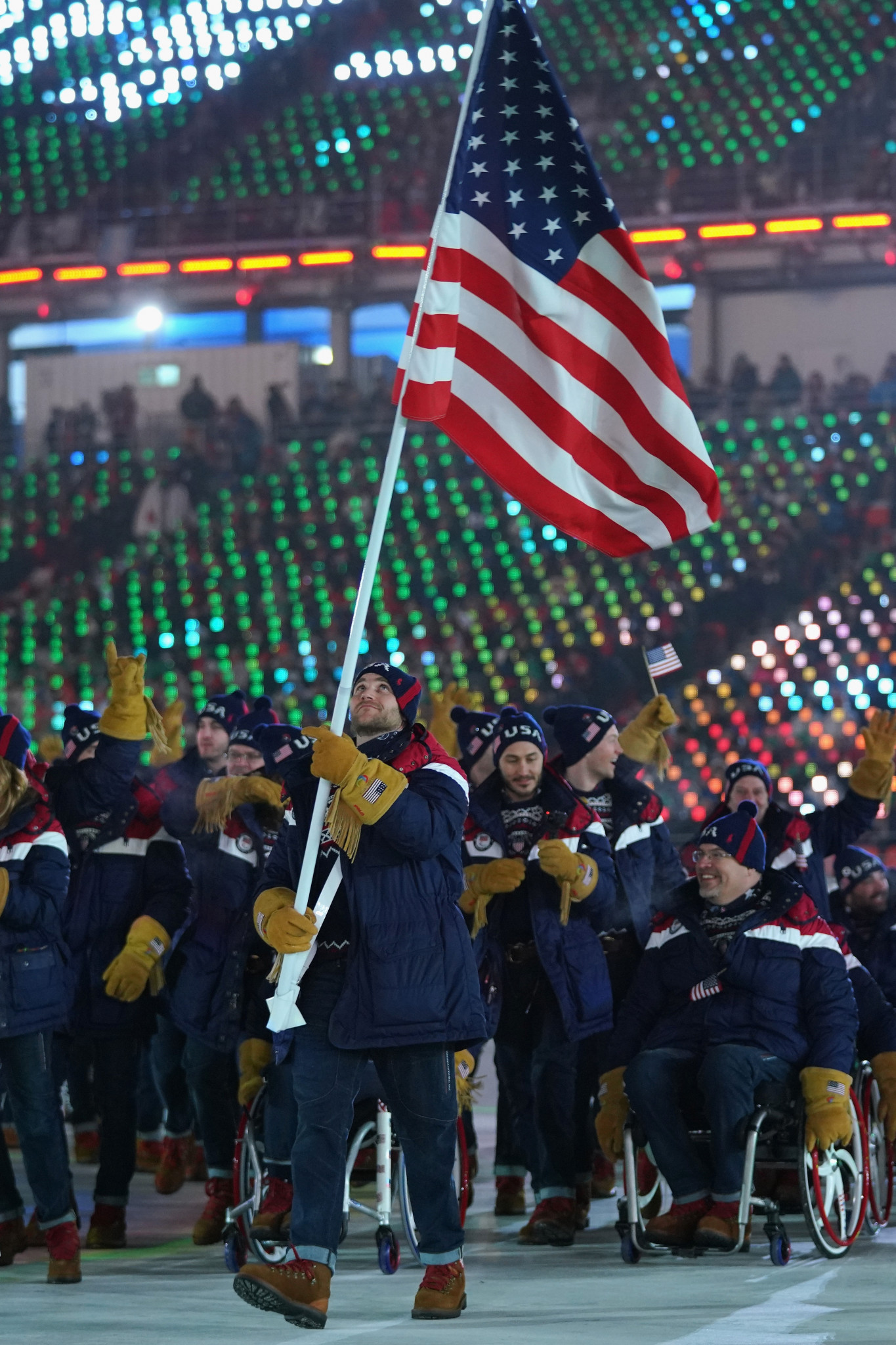 Snowboarder Mike Schultz was selected as the US' flagbearer for the Opening Ceremony of the Games ©Getty Images