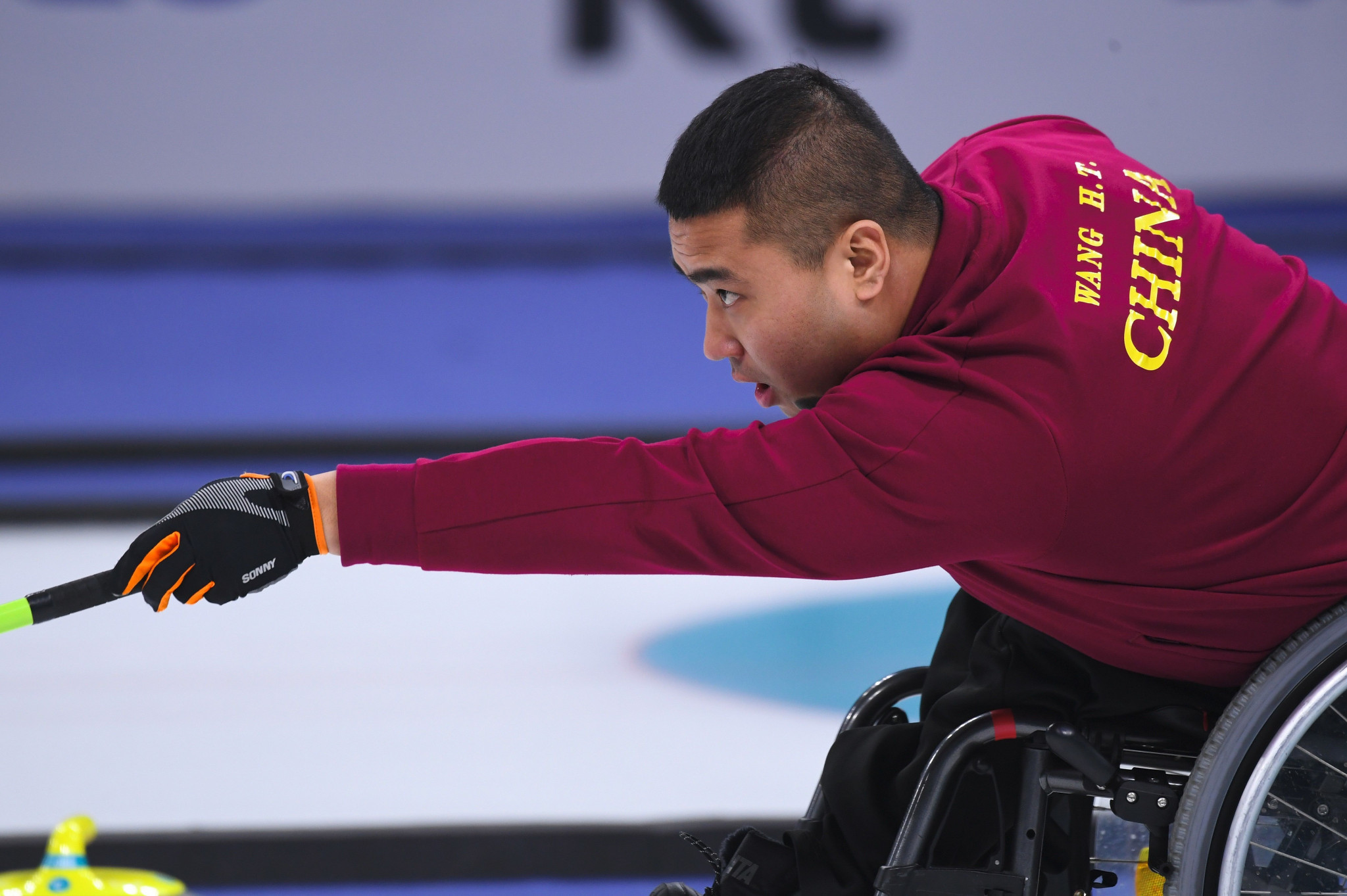 Haitao Wang was instrumental in China's victory at the Gangneung Curling Centre today ©Getty Images