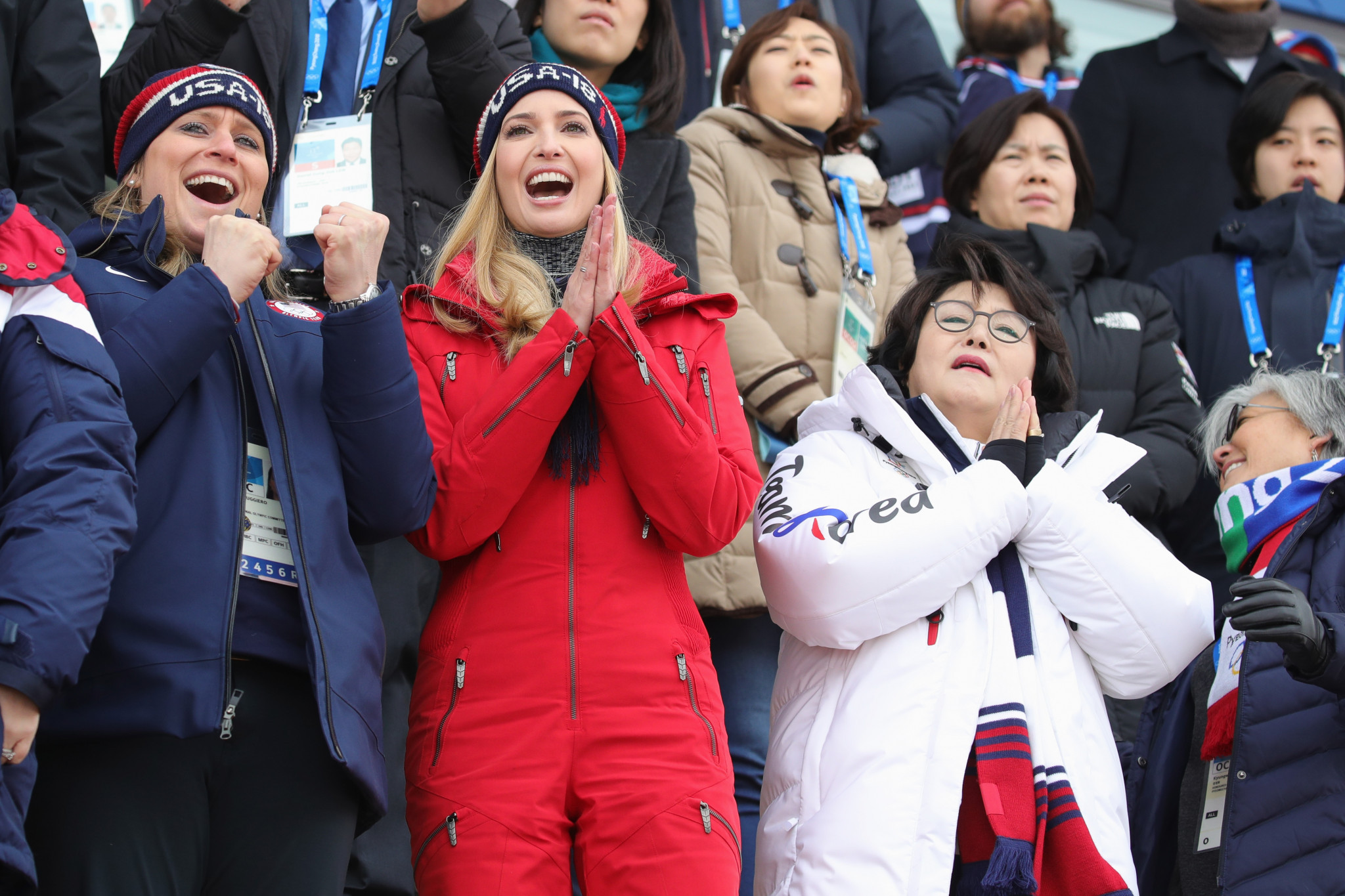 Angela Ruggiero, left, pictured alongside Ivanka Trump at last month's Winter Olympics in Pyeongchang ©Getty Images
