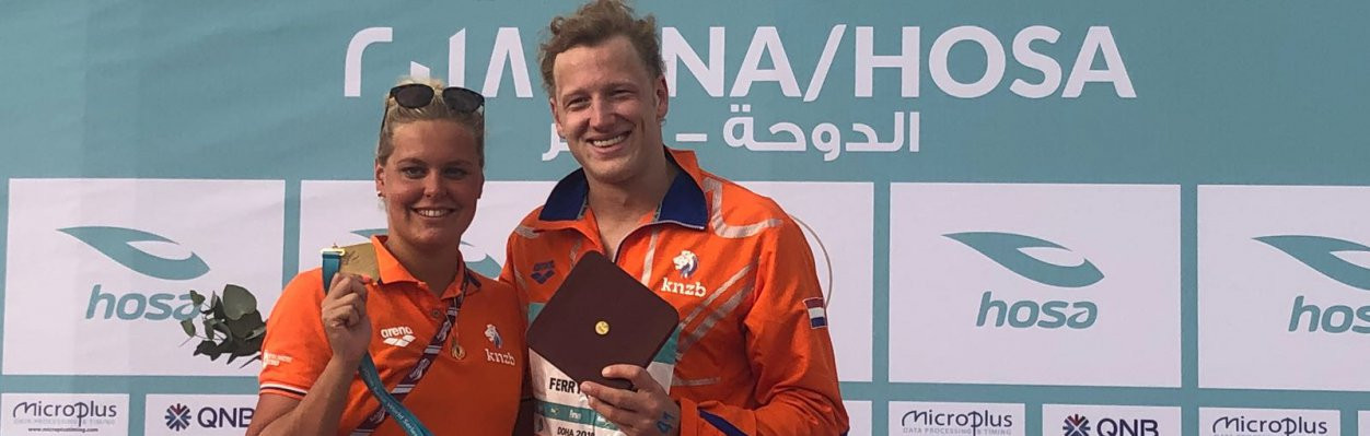 There was double Dutch gold in Doha today as the FINA Marathon Swim Series 2018 got underway ©FINA