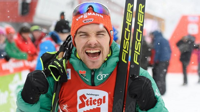 Germany's Fabian Rießle celebrated a back-to-back victory at the International Ski Federation  Nordic Combined World Cup at his home venue in Klingenthal ©FIS
