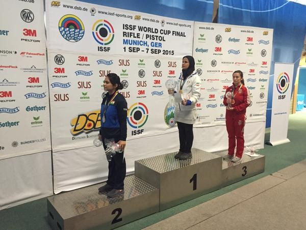 Elaheh Ahmadi continues impressive form to claim women's 10 metres air rifle gold at ISSF Rifle and Pistol World Cup Finals