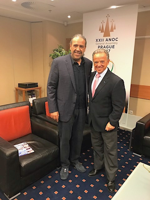 IFBB President Santonja with Sheikh Ahmad Al Fahad Al Sabah, President of the Association of National Olympic Committees and the Olympic Council of Asia, in Prague last November ©IFBB