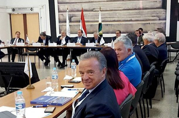 IFBB President Rafael Santonja pictured at the South American Sports Organisation general meeting in Asuncion ©IFBB