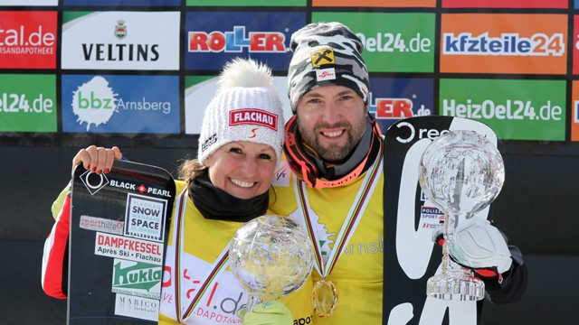 Riegler wins first FIS Snowboard World Cup title at 44 as partner Promegger defies pain in season finale