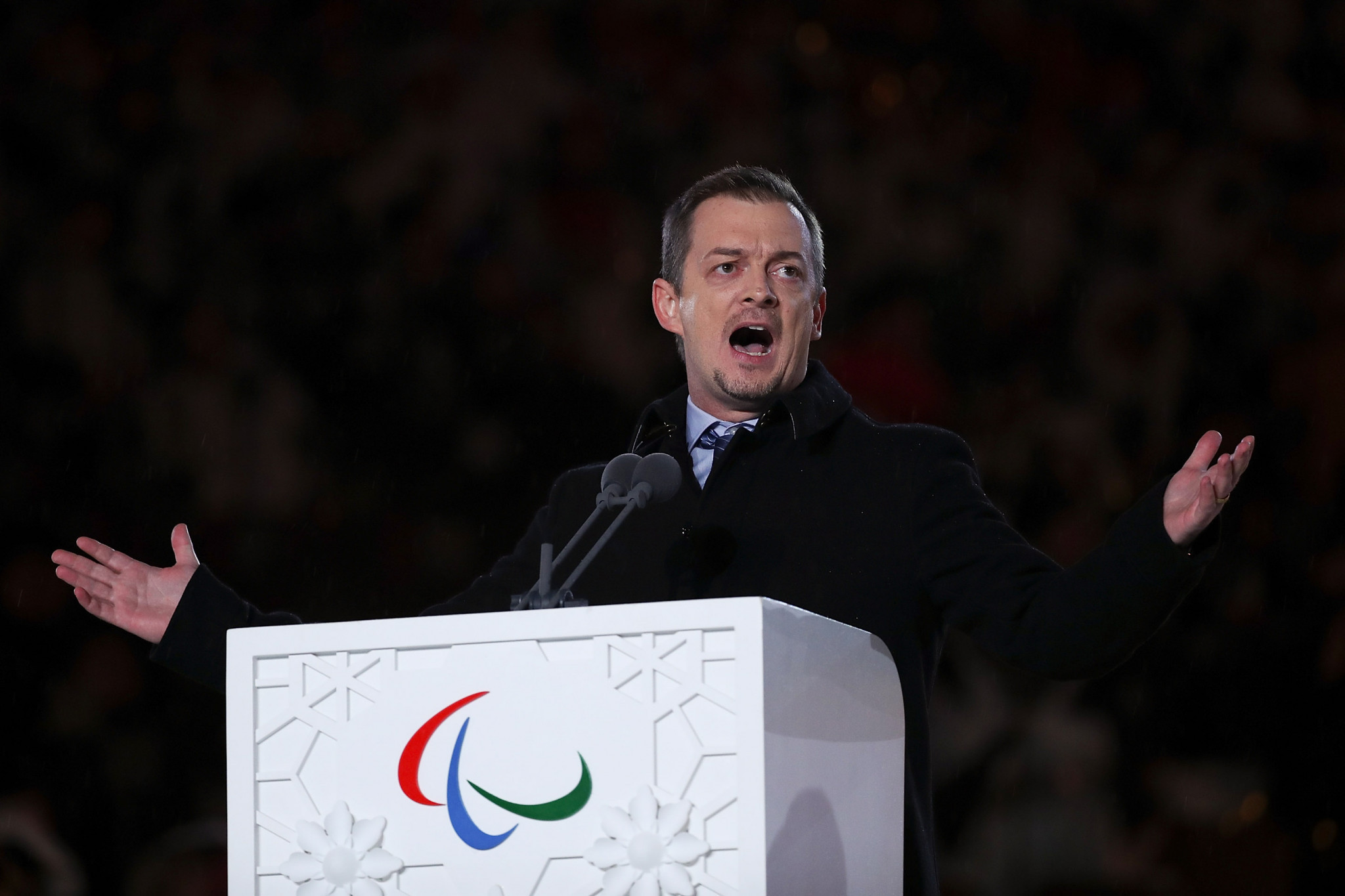 IPC President Andrew Parsons officially bought the curtain down on the Winter Paralympic Games at tonight's Closing Ceremony in Pyeongchang ©Getty Images