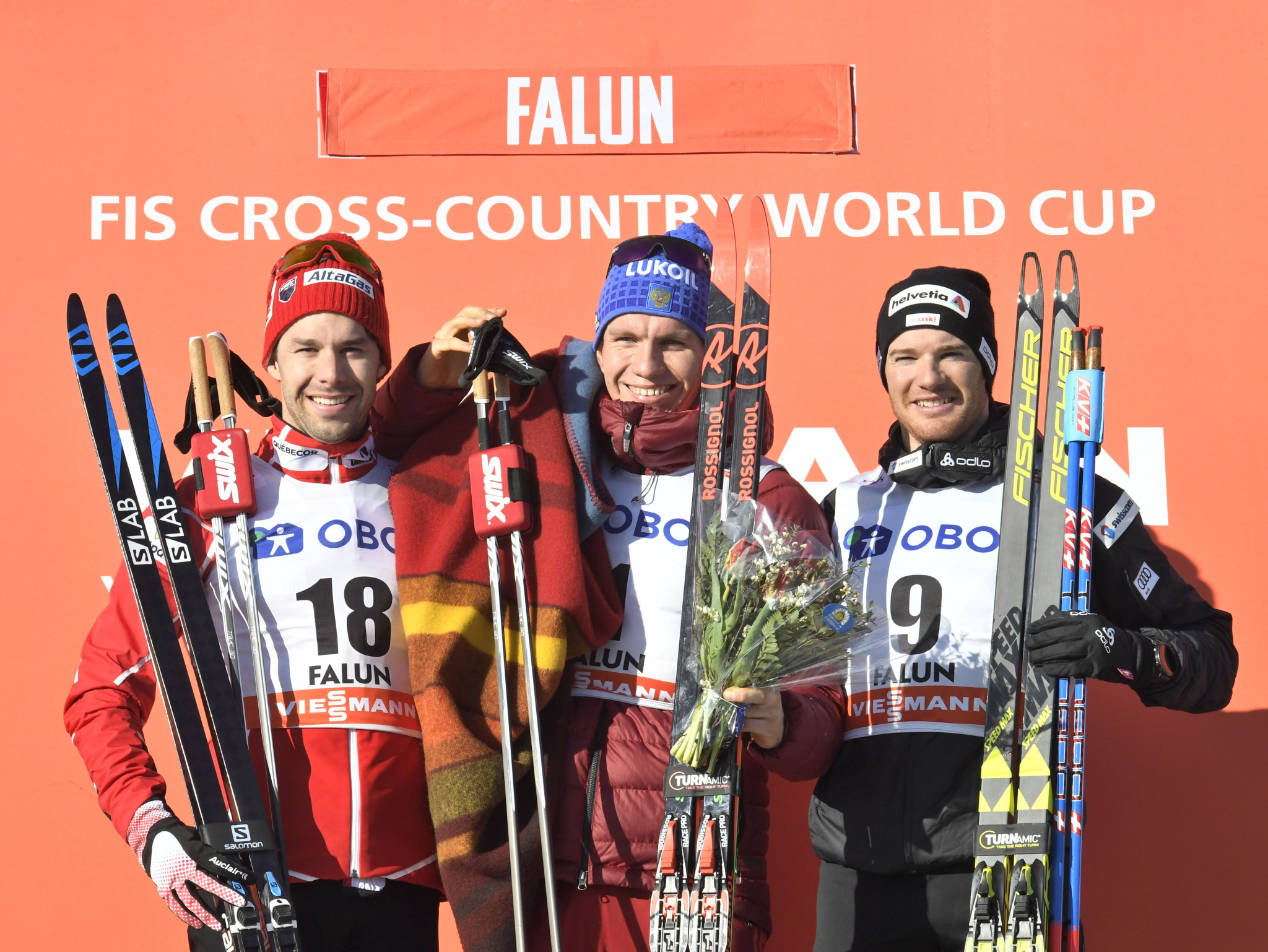 Russia's Alexander Bolshunov triumphed in the three-day men's event in Falun ©Getty Images