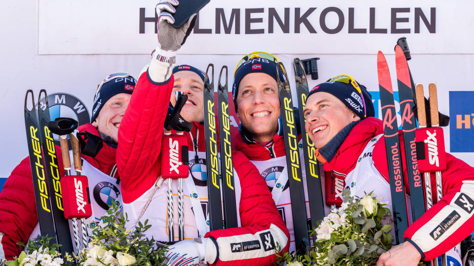 Norway's team, led by Johannes Thingnes Bø, were unbeatable in the men's 4x7.5km Relay in Oslo ©IBU