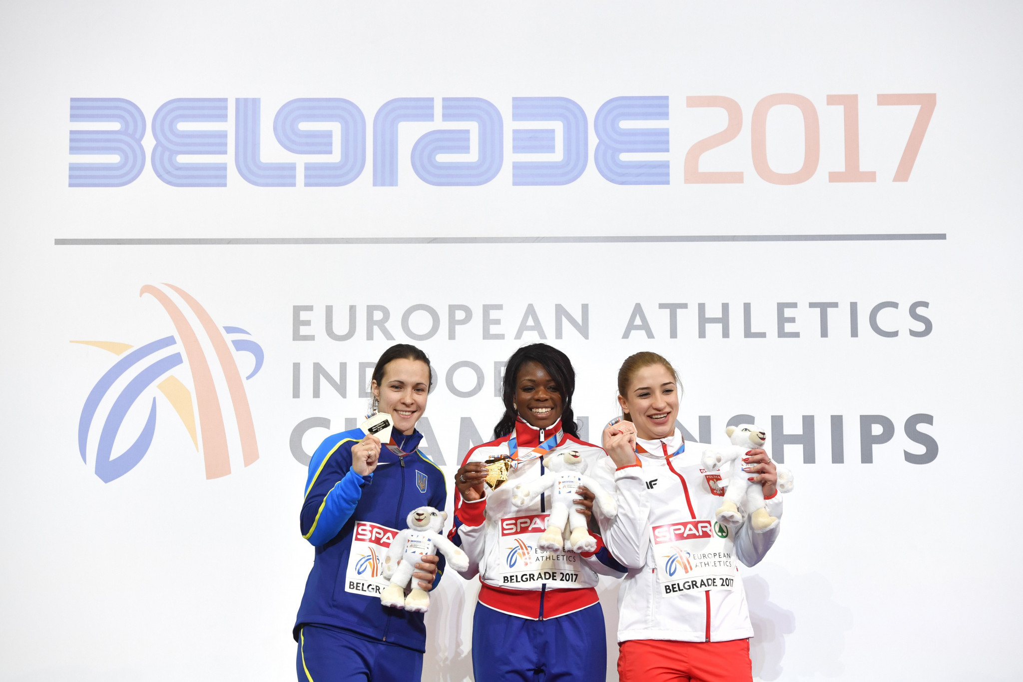 Ukraine's Olesya Povkh, left, is set to be ripped of the silver medal she won in the 60m at the European Indoor Championships in Belgrade last year following a positive drugs test and subsequent four-year ban ©Getty Images