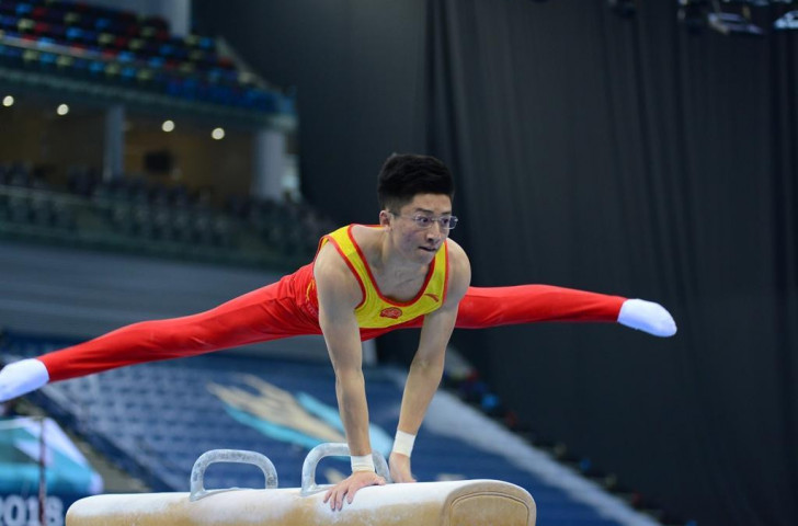 China's Hao Weng won the gold medal on the pommel horse at the FIG Artistic Gymnastics World Cup in Baku ©Azerbaijan Gymnastics Federation