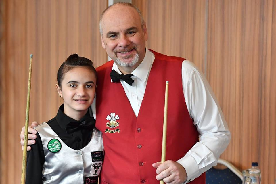 Brazil's 13-year-old Nicolly Cristo pictured after her round robin match against World Senior Championships runner-up Darren Morgan in the inaugural mixed World Snooker Federation World Championships underway in Malta © WSF Facebook
