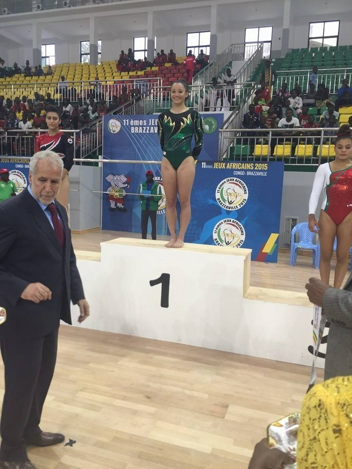 Kirsten Backett is awarded her all-around gymnastics gold medal at the All-African Games ©SAGymnastics