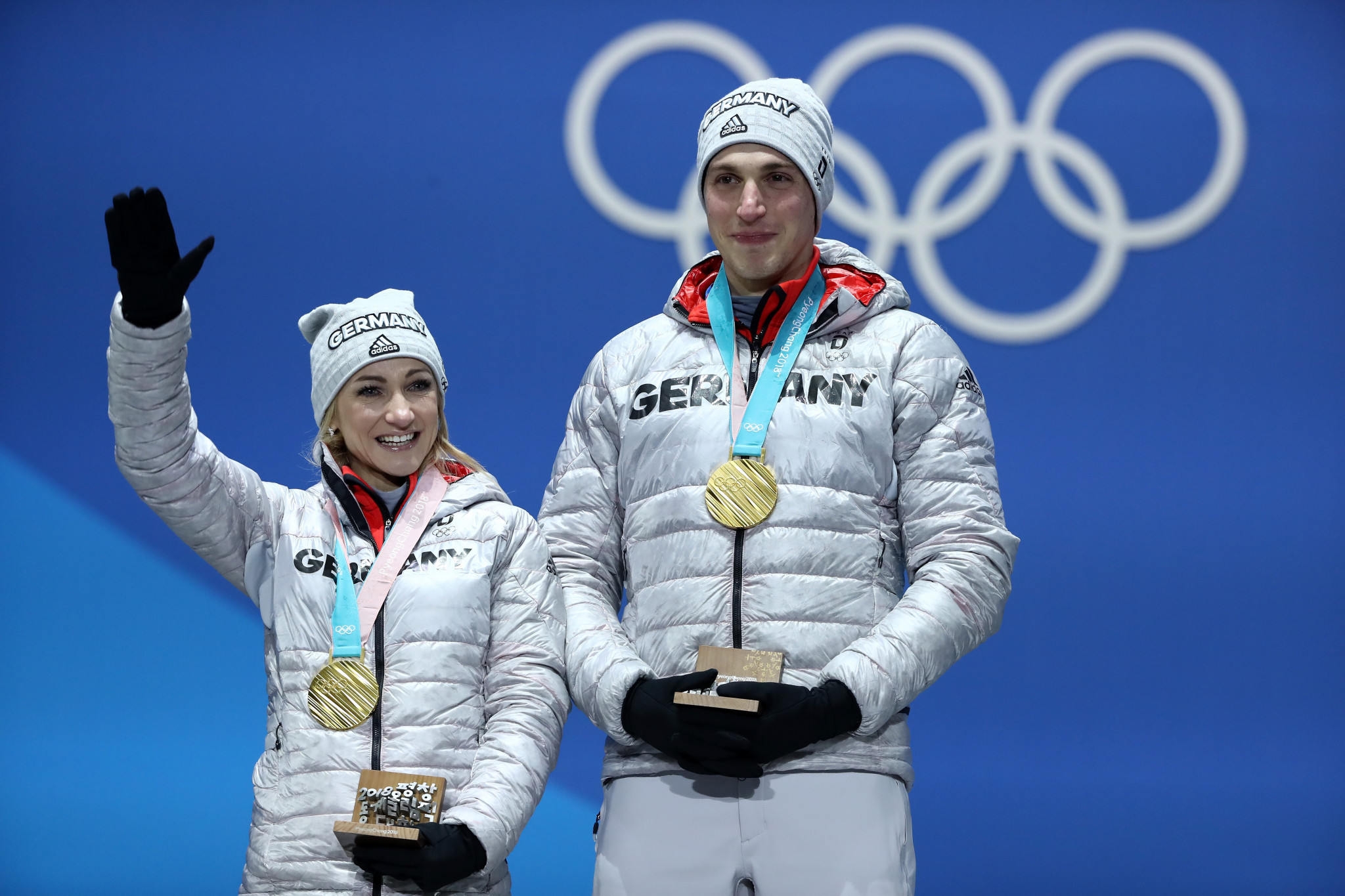 Aliona Savchenko, left, celebrates gold alongside Bruno Massot at Pyeongchang 2018 ©Getty Images