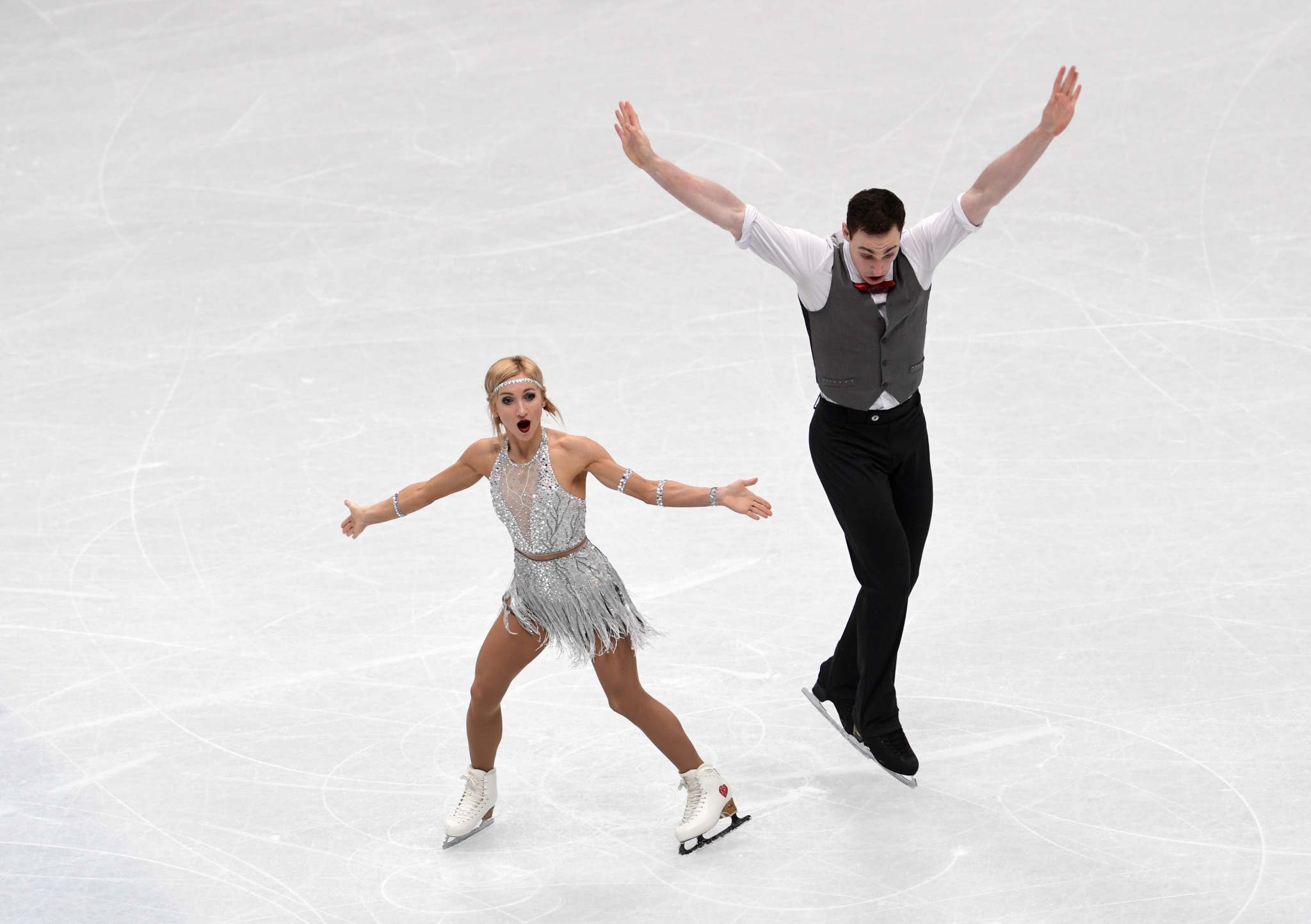 Aliona Savchenko and Bruno Massot took control of the pairs event ©Getty Images