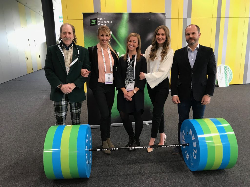 IWF officials pose at the WADA Symposium in Lausanne ©IWF