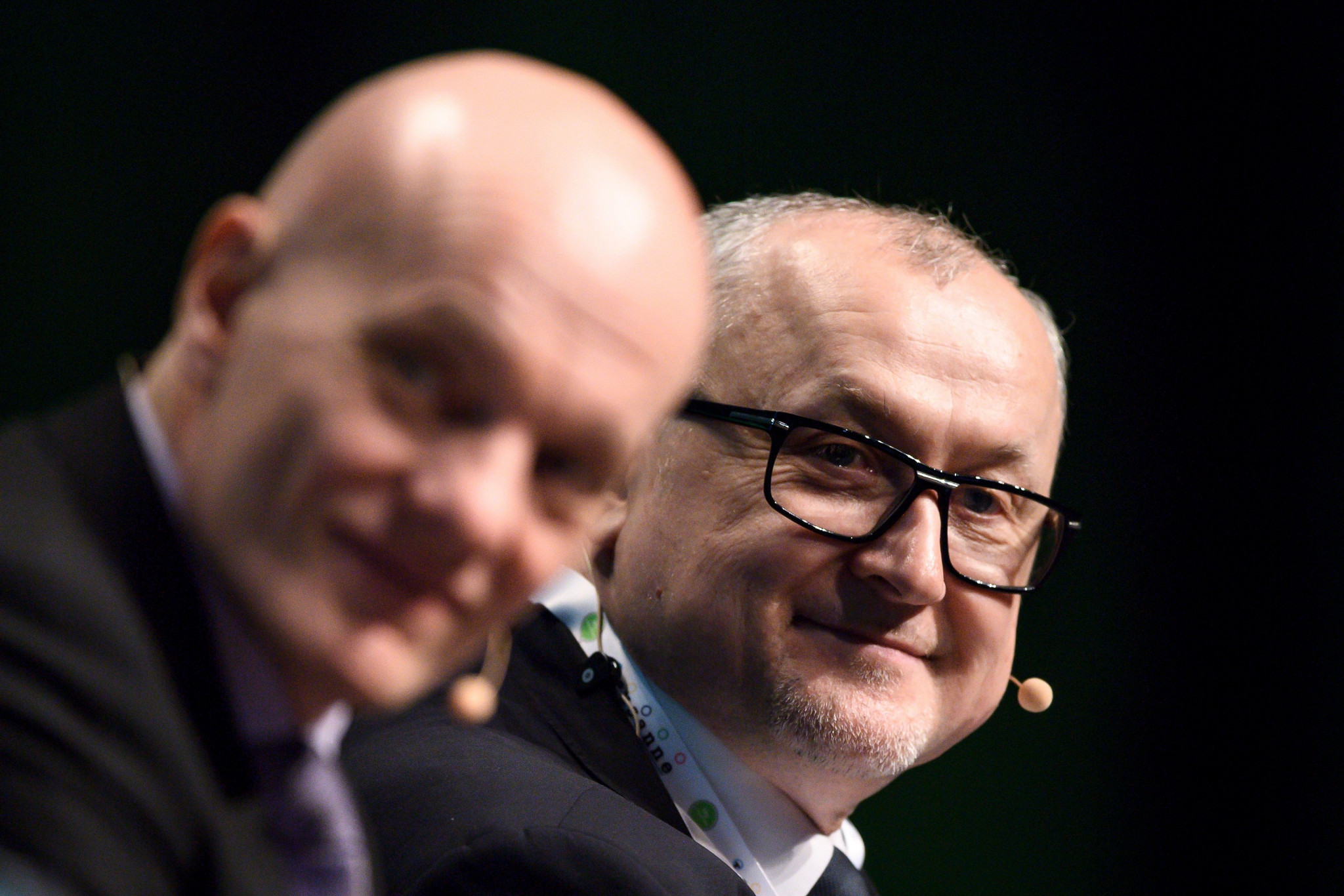 Günter Younger, left, alongside RUSADA director general Yury Ganus during the WADA Symposium in Lausanne ©Getty Images