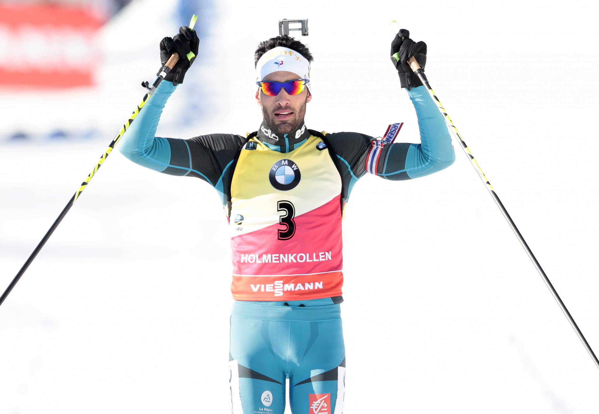 Martin Fourcade, pictured winning in Holmenkollen last week, won the World Cup finals today in Russia ©Getty Images