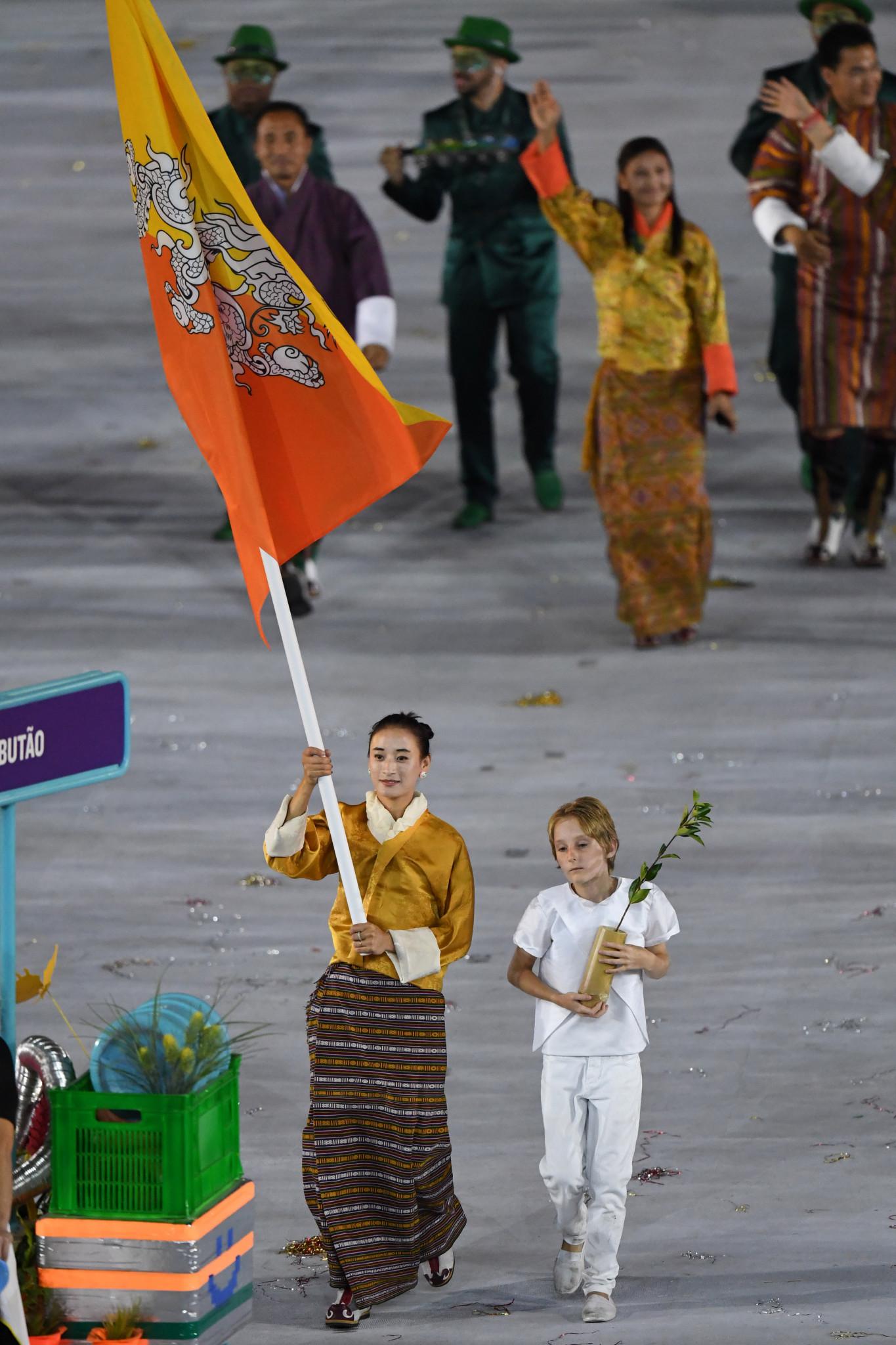 Karma Karma carries the Bhutan flag at Rio 2016 ©Getty Images