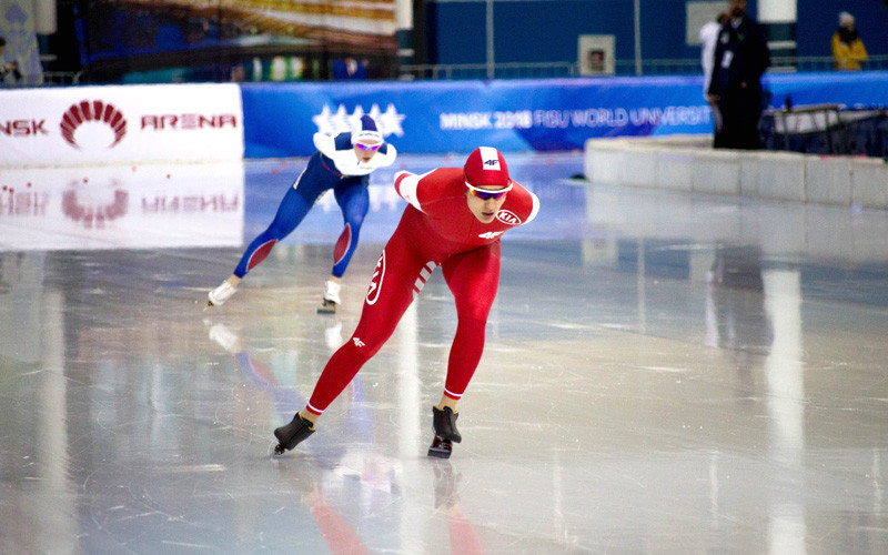 The first gold medal of the World University Speed Skating Championships in Minsk was won in the women's 3,000m by Poland's Paulien Verhaar  ©World Universities Speed Skating Championships