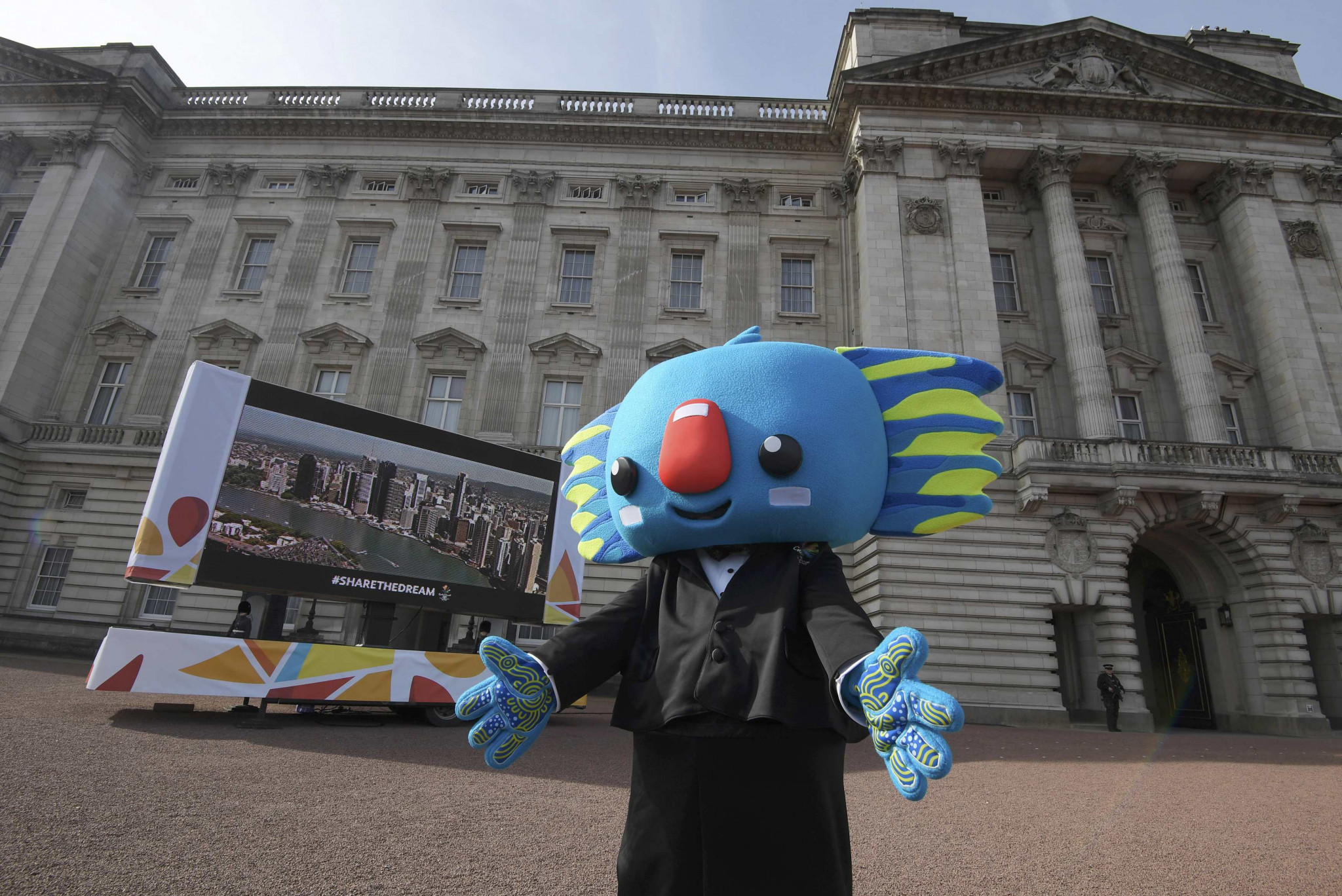 Gold Coast 2018 mascot Borobi was in dancing mood at the start of the Queen's Baton Relay at Buckingham Palace ©Getty Images