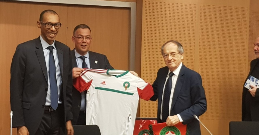French Football Federation President Noël Le Graët has pledged to back Morocco's candidature for the 2026 World Cup ©RMFF