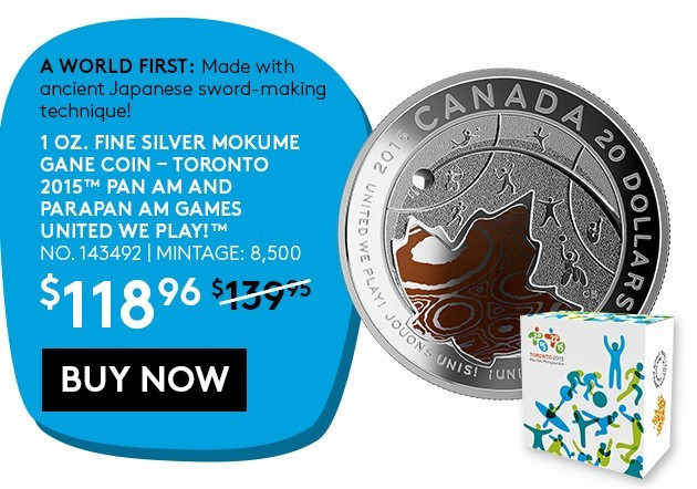 The coins are can be purchased for the reduced price by using the promotional code PANAM ©Toronto 2015