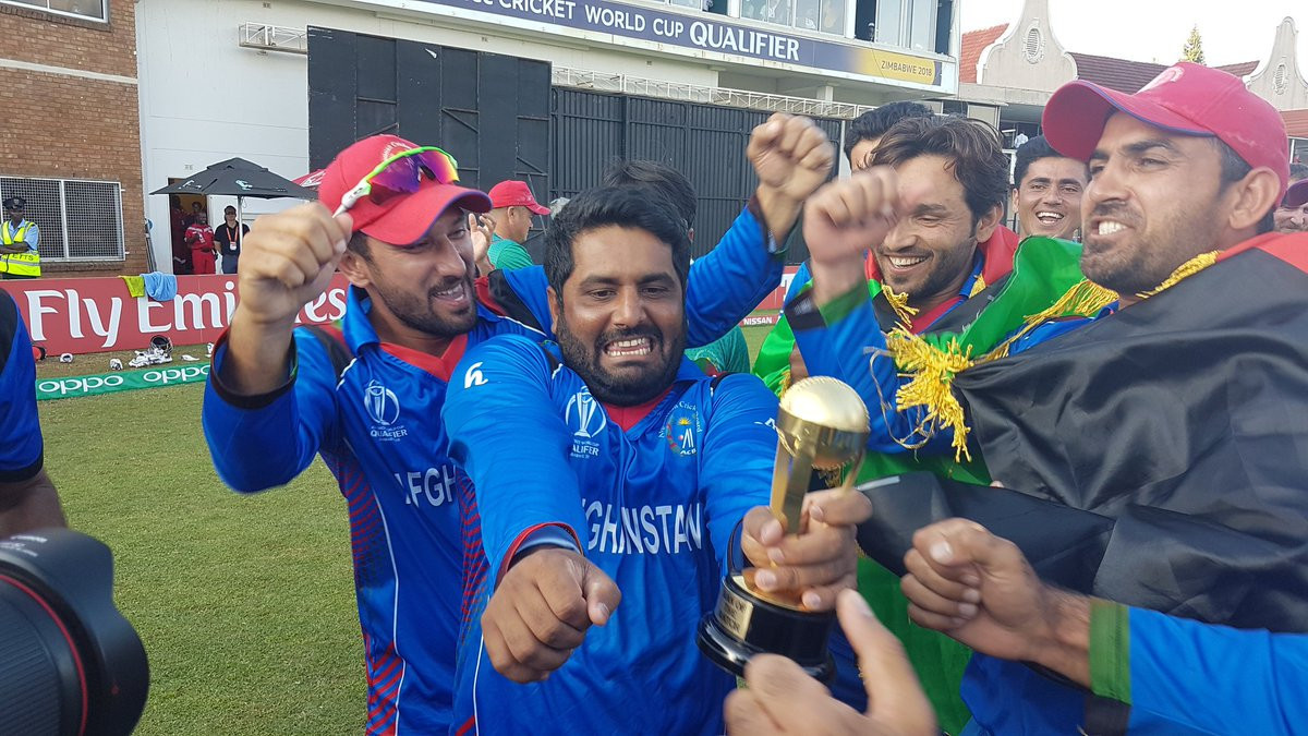 Afghanistan's players celebrate their win in Harare ©ICC