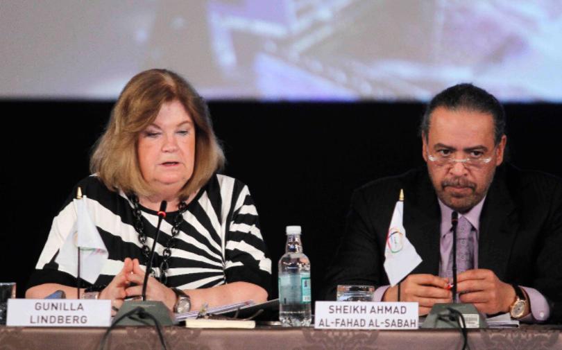 ANOC President Sheikh Ahmad Al-Fahad Al-Sabah and secretary general Gunilla Lindberg during the meeting ©Panam Sports