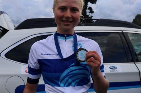 New Zealand's Mikayla Harvey completed a time trial and road race double at under-23 level in the Oceania Road Championships in Tasmania ©OCF