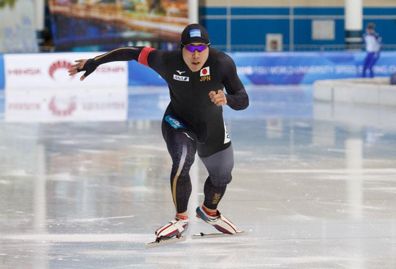 Tatsuya Shinhama won his second gold medal in Minsk ©WUC Speed Skating